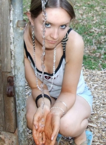 Cute Blonde Teen Shelby Teases At The Public Park In Her Skimpy Little Outfit - Picture 1