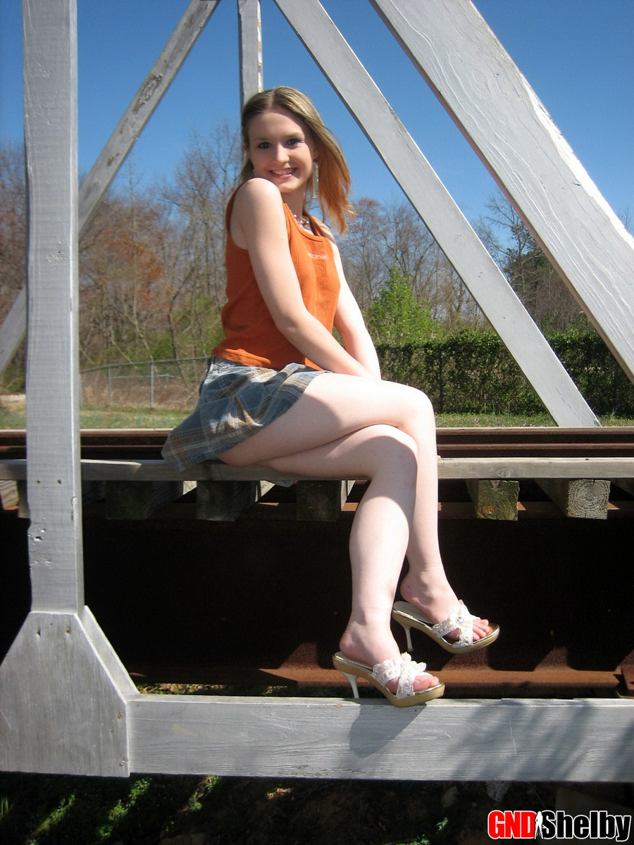 Cute Petite Teen Shelby Flashes Her Perky Tits Outdoors At The Public Park - Picture 4