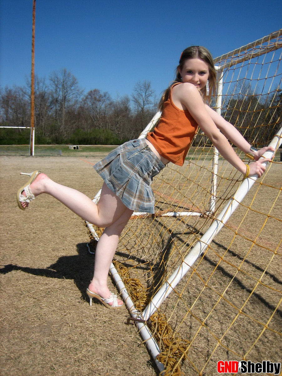 Cute Petite Teen Shelby Flashes Her Perky Tits Outdoors At The Public Park - Picture 12