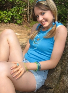 Skinny Teen Teases Outdoors As She Flashes Her Perky Teenage Tits - Picture 9